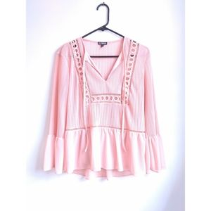 Express Dusty Pink Boho V Neck Peasant Blouse